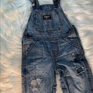 Oshkosh B'gosh denim overalls 18 months patched
